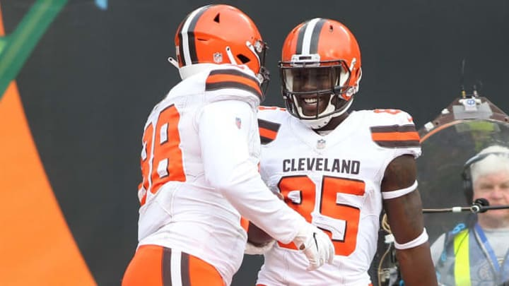 CINCINNATI, OH - NOVEMBER 25:  Darren Fells #88 of the Cleveland Browns is congratulated by David Njoku #85 after scoring a touchdown during the third quarter of the game against the Cincinnati Bengals at Paul Brown Stadium on November 25, 2018 in Cincinnati, Ohio. (Photo by John Grieshop/Getty Images)