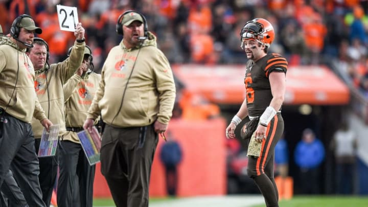 DENVER, CO - NOVEMBER 3:  Baker Mayfield #6 of the Cleveland Browns has words with head coach Freddie Kitchens of the Cleveland Browns as they consider challenging the result of a play against the Denver Broncos in the third quarter of a game at Empower Field at Mile High on November 3, 2019 in Denver, Colorado.  (Photo by Dustin Bradford/Getty Images)