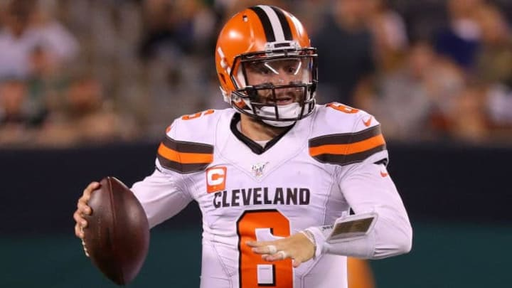 EAST RUTHERFORD, NEW JERSEY - SEPTEMBER 16: Baker Mayfield #6 of the Cleveland Browns looks to pass in the second half against the New York Jets at MetLife Stadium on September 16, 2019 in East Rutherford, New Jersey. (Photo by Mike Lawrie/Getty Images)