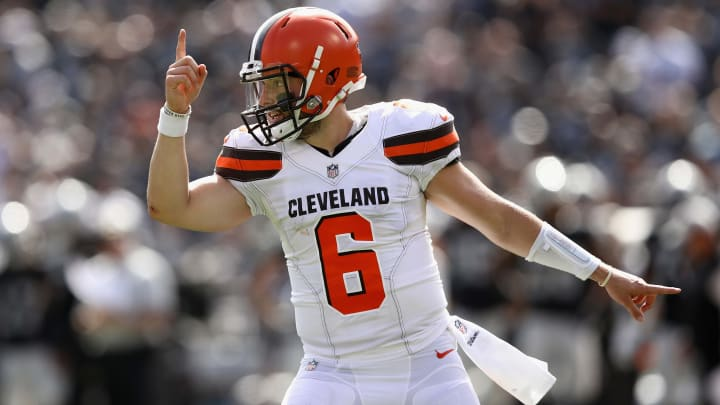OAKLAND, CA - SEPTEMBER 30:  Baker Mayfield #6 of the Cleveland Browns reacts after the Browns scored a two-point conversion against the Oakland Raiders at Oakland-Alameda County Coliseum on September 30, 2018 in Oakland, California.  (Photo by Ezra Shaw/Getty Images)