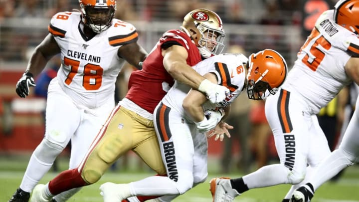 SANTA CLARA, CALIFORNIA - OCTOBER 07:  Nick Bosa #97 of the San Francisco 49ers sacks Baker Mayfield #6 of the Cleveland Browns and forces a fumble at Levi's Stadium on October 07, 2019 in Santa Clara, California. (Photo by Ezra Shaw/Getty Images)