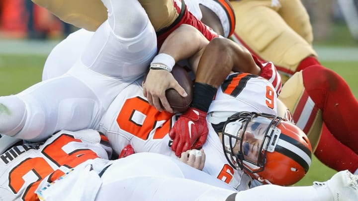 SANTA CLARA, CALIFORNIA - OCTOBER 07: Baker Mayfield #6 of the Cleveland Browns is sacked by K'Waun Williams #24 of the San Francisco 49ers in the first quarter at Levi's Stadium on October 07, 2019 in Santa Clara, California. (Photo by Lachlan Cunningham/Getty Images)