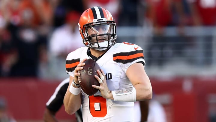 SANTA CLARA, CALIFORNIA - OCTOBER 07:  Baker Mayfield #6 of the Cleveland Browns looks to pass the ball against the San Francisco 49ers at Levi's Stadium on October 07, 2019 in Santa Clara, California. (Photo by Ezra Shaw/Getty Images)