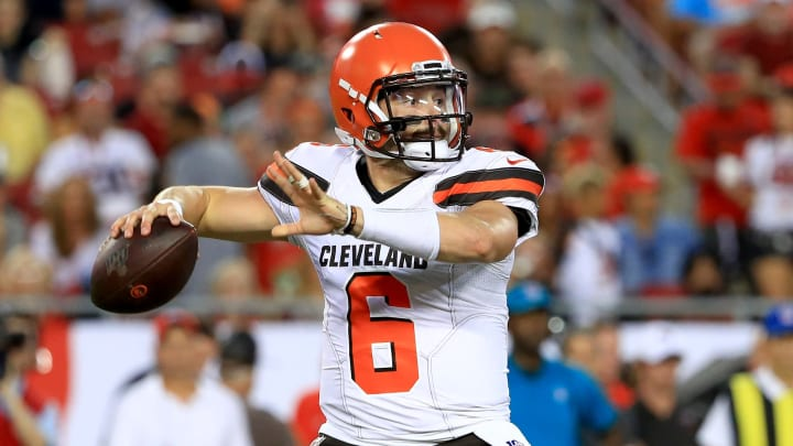 TAMPA, FLORIDA - AUGUST 23: Baker Mayfield #6 of the Cleveland Browns passes during a preseason game against the Tampa Bay Buccaneers at Raymond James Stadium on August 23, 2019 in Tampa, Florida. (Photo by Mike Ehrmann/Getty Images)