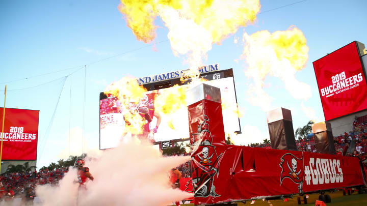 TAMPA, FL - AUGUST 23: Emanuel Hall #16 of the Tampa Bay Buccaneers takes the field for the start of the preseason game against the Cleveland Browns at Raymond James Stadium on August 23, 2019 in Tampa, Florida. (Photo by Will Vragovic/Getty Images)
