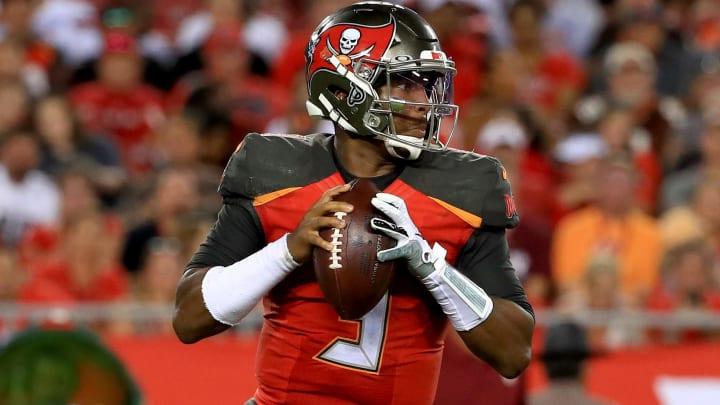 TAMPA, FLORIDA - AUGUST 23: Jameis Winston #3 of the Tampa Bay Buccaneers passes during a preseason game against the Cleveland Browns at Raymond James Stadium on August 23, 2019 in Tampa, Florida. (Photo by Mike Ehrmann/Getty Images)