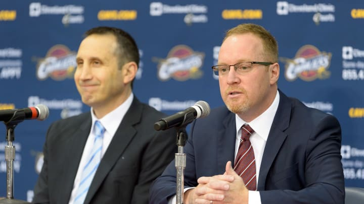 INDEPENDENCE, OH - SEPTEMBER 26: (L-R) Head coach David Blatt and general manager David Griffin of the Cleveland Cavaliers answers questions during media day at Cleveland Clinic Courts on September 26, 2014 in Independence, Ohio. (Photo by Jason Miller/Getty Images)