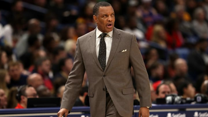 NEW ORLEANS, LOUISIANA - JANUARY 09:  Alvin Gentry of the New Orleans Pelicans looks on against the Cleveland Cavaliers at Smoothie King Center on January 09, 2019 in New Orleans, Louisiana.  NOTE TO USER: User expressly acknowledges and agrees that, by downloading and or using this photograph, User is consenting to the terms and conditions of the Getty Images License Agreement. (Photo by Chris Graythen/Getty Images)
