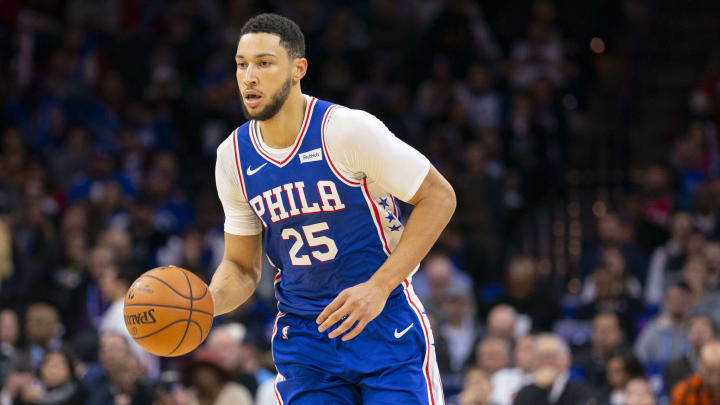 PHILADELPHIA, PA - NOVEMBER 12: Ben Simmons #25 of the Philadelphia 76ers dribbles the ball against the Cleveland Cavaliers at the Wells Fargo Center on November 12, 2019 in Philadelphia, Pennsylvania. The 76ers defeated the Cavaliers 98-97. NOTE TO USER: User expressly acknowledges and agrees that, by downloading and/or using this photograph, user is consenting to the terms and conditions of the Getty Images License Agreement. (Photo by Mitchell Leff/Getty Images)