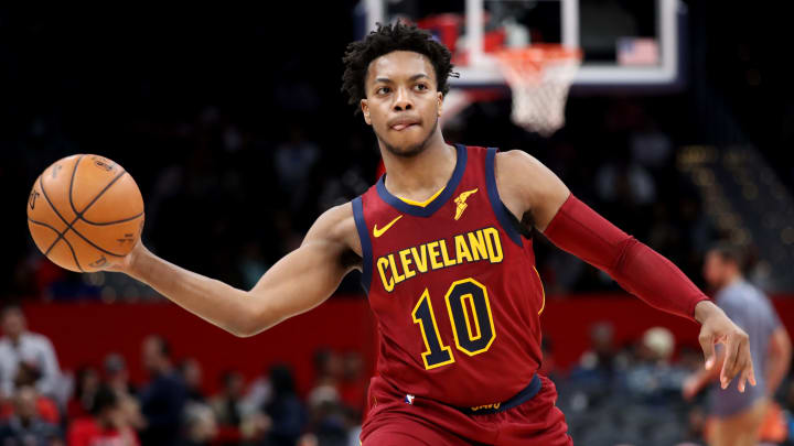 WASHINGTON, DC - NOVEMBER 08: Darius Garland #10 of the Cleveland Cavaliers passes the ball against the Washington Wizards in the second half at Capital One Arena on November 08, 2019 in Washington, DC. NOTE TO USER: User expressly acknowledges and agrees that, by downloading and/or using this photograph, user is consenting to the terms and conditions of the Getty Images License Agreement. (Photo by Rob Carr/Getty Images)
