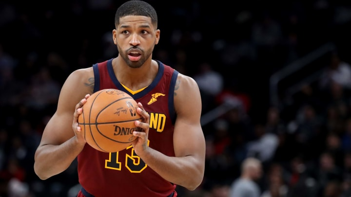 WASHINGTON, DC - NOVEMBER 08: Tristan Thompson #13 of the Cleveland Cavaliers looks to pass against the Washington Wizards at Capital One Arena on November 08, 2019 in Washington, DC. NOTE TO USER: User expressly acknowledges and agrees that, by downloading and/or using this photograph, user is consenting to the terms and conditions of the Getty Images License Agreement. (Photo by Rob Carr/Getty Images)