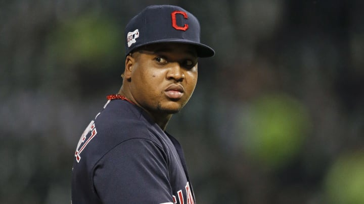 CHICAGO, ILLINOIS - SEPTEMBER 26: Jose Ramirez #11 of the Cleveland Indians plays  during the game against the Chicago White Sox at Guaranteed Rate Field on September 26, 2019 in Chicago, Illinois. (Photo by Nuccio DiNuzzo/Getty Images)