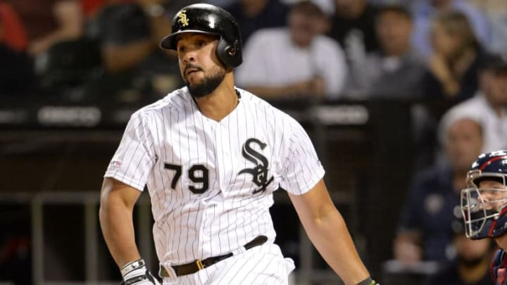 CHICAGO - SEPTEMBER 24:  Jose Abreu #79 of the Chicago White Sox bats against the Cleveland Indians on September 24, 2019 at Guaranteed Rate Field in Chicago, Illinois.  (Photo by Ron Vesely/MLB Photos via Getty Images)