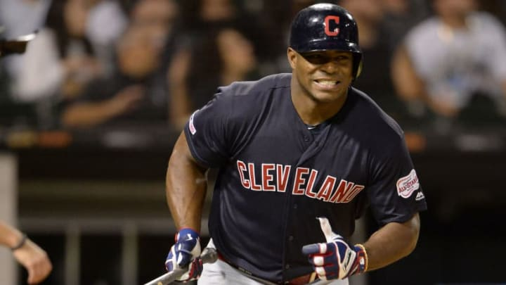 CHICAGO - SEPTEMBER 25:  Yasiel Puig #66 of the Cleveland Indians reacts after popping up against the Chicago White Sox on September 25, 2019 at Guaranteed Rate Field in Chicago, Illinois.  (Photo by Ron Vesely/MLB Photos via Getty Images)