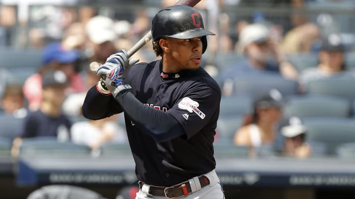 NEW YORK, NEW YORK - AUGUST 18:    Francisco Lindor #12 of the Cleveland Indians in action against the New York Yankees at Yankee Stadium on August 18, 2019 in New York City. The Indians defeated the Yankees 8-4. (Photo by Jim McIsaac/Getty Images)