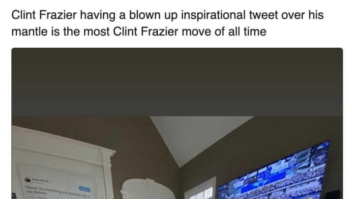 New York Yankees outfielder Clint Frazier loves Kanye West, as evidenced by his mantelpiece.