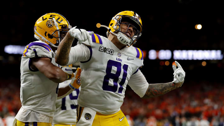 LSU Tigers tight end Thaddeus Moss in the CFP National Championship against Clemson
