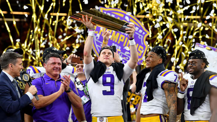Ed Orgeron, Joe Burrow, Grant Delpit, Patrick Queen