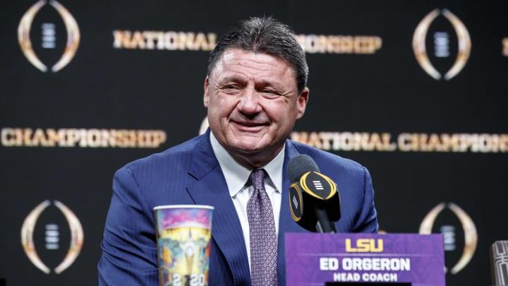 LSU HC Ed Orgeron at his National Championship press conference