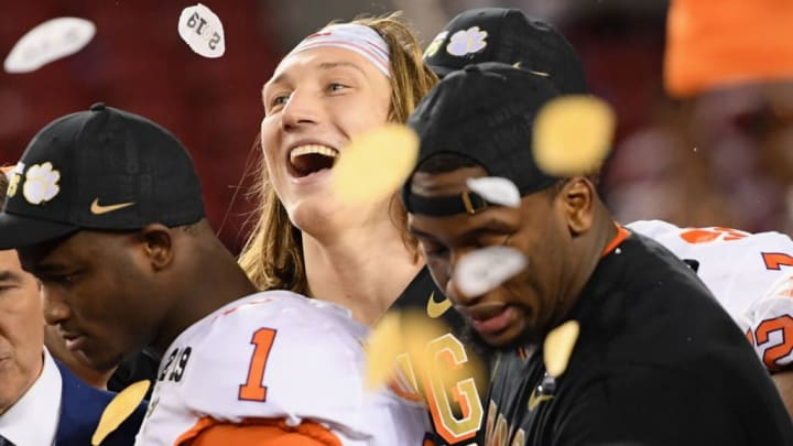 SANTA CLARA, CA - JANUARY 07:  Trevor Lawrence #16 of the Clemson Tigers reacts after his teams 44-16 win over the Alabama Crimson Tide in the CFP National Championship presented by AT&T at Levi's Stadium on January 7, 2019 in Santa Clara, California.  (Photo by Harry How/Getty Images)