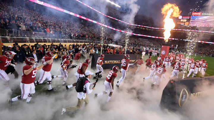 SANTA CLARA, CA - JANUARY 07:  The Alabama Crimson Tide take the field prior to the CFP National Championship against the Clemson Tigers presented by AT&T at Levi's Stadium on January 7, 2019 in Santa Clara, California.  (Photo by Harry How/Getty Images)