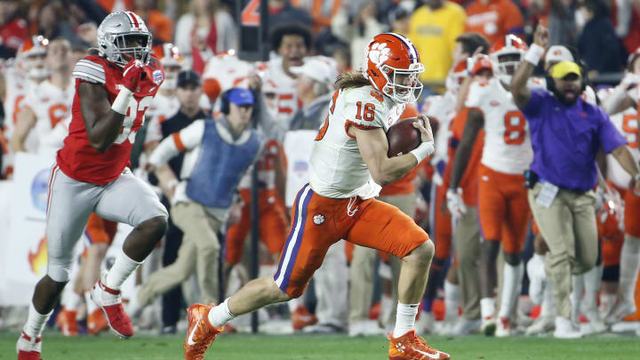 Clemson Tigers QB Trevor Lawrence has learned to be dominant running out of the backfield.