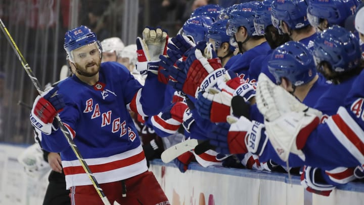 NEW YORK, NEW YORK - OCTOBER 16: Kevin Shattenkirk #22 of the New York Rangers celebrates his shootout goal against the Colorado Avalanche at Madison Square Garden on October 16, 2018 in New York City. The Rangers defeated the Avalanche 3-2 in the shootout. (Photo by Bruce Bennett/Getty Images)