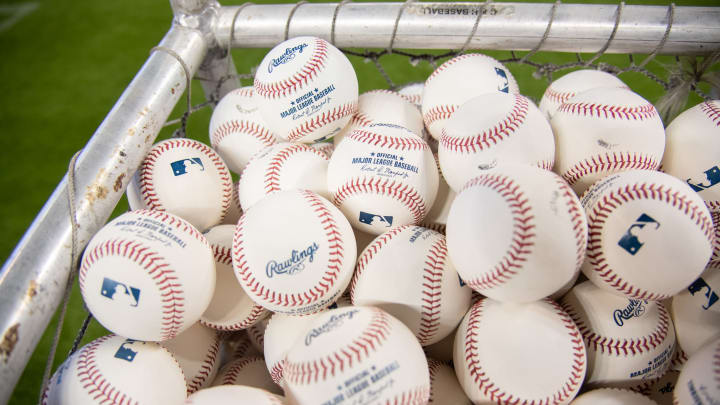 MIAMI, FL - MARCH 28: A detailed view of the MLB batting practice baseballs prior to the Opening Day game between the Miami Marlins and the Colorado Rockies at Marlins Park on March 28, 2019 in Miami, Florida. (Photo by Mark Brown/Getty Images)