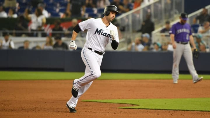 MIAMI, FL - MARCH 28: Neil Walker #18 of the Miami Marlins in action against the Colorado Rockies during Opening Day at Marlins Park on March 28, 2019 in Miami, Florida. (Photo by Mark Brown/Getty Images)