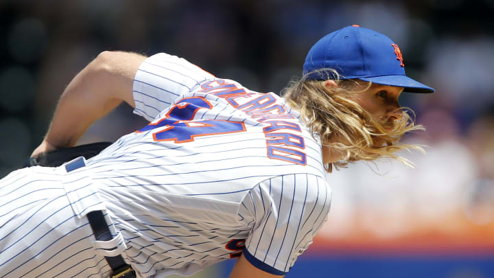 NEW YORK, NEW YORK - JUNE 09:   Noah Syndergaard #34 of the New York Mets follows through on a pitch during the first inning against the Colorado Rockies at Citi Field on June 09, 2019 in New York City. (Photo by Jim McIsaac/Getty Images)