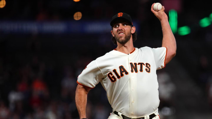 SAN FRANCISCO, CALIFORNIA - SEPTEMBER 24: Madison Bumgarner #40 of the San Francisco Giants pitches during the second inning against the Colorado Rockies at Oracle Park on September 24, 2019 in San Francisco, California. (Photo by Daniel Shirey/Getty Images)