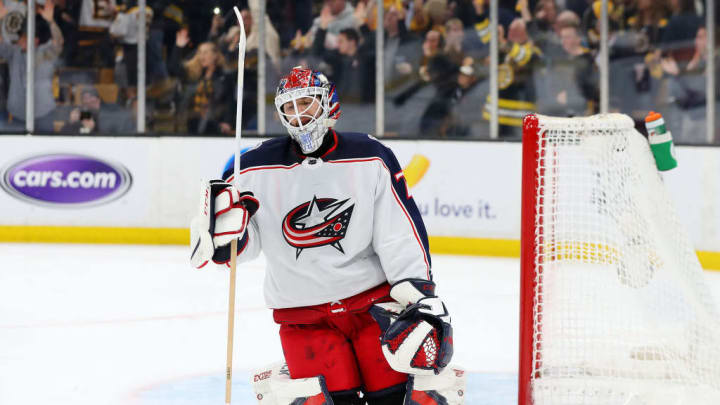BOSTON, MASSACHUSETTS - MAY 04: Sergei Bobrovsky #72 of the Columbus Blue Jackets reacts after Brad Marchand #63 of the Boston Bruins scored a goal during the third period of Game Five of the Eastern Conference Second Round during the 2019 NHL Stanley Cup Playoffs at TD Garden on May 04, 2019 in Boston, Massachusetts. The Bruins defeat the Blue Jackets 4-3.  (Photo by Maddie Meyer/Getty Images)