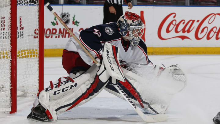 SUNRISE, FL - NOVEMBER 26: Goaltender Sergei Bobrovsky #72 of the Columbus Blue Jackets defends the net against the Florida Panthers during first period action at the BB&T Center on November 26, 2016 in Sunrise, Florida. (Photo by Joel Auerbach/Getty Images)