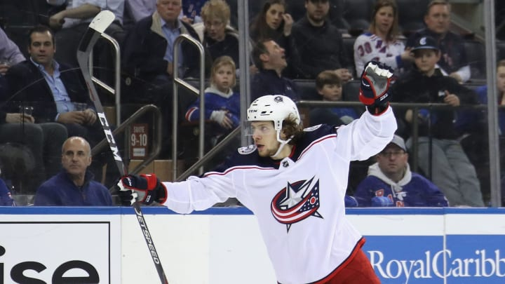 NEW YORK, NEW YORK - APRIL 05: Artemi Panarin #9 of the Columbus Blue Jackets scores at 14:27 of the third period against the New York Rangers at Madison Square Garden on April 05, 2019 in New York City. The Blue Jackets defeated the Rangers 3-2 in the shoot-out to gain a playoff position. (Photo by Bruce Bennett/Getty Images)