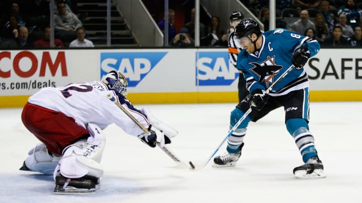 SAN JOSE, CA - NOVEMBER 03:  Joe Pavelski #8 of the San Jose Sharks scores a goal past goalie Sergei Bobrovsky #72 of the Columbus Blue Jackets at SAP Center on November 3, 2015 in San Jose, California.  (Photo by Ezra Shaw/Getty Images)