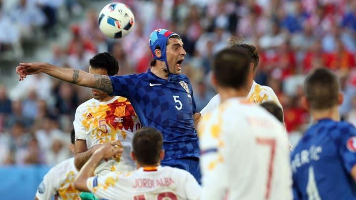 La selección española enfrentándose a Croacia en la Euro 2016