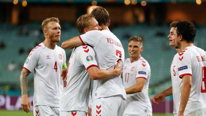 L'esultanza dei giocatori della Danimarca