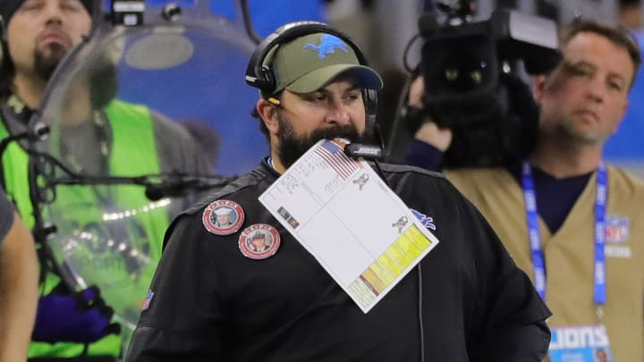 DETROIT, MI - NOVEMBER 17: Head coach Matt Patricia of the Detroit Lions looks at the video board late in the fourth quarter of the game against the Dallas Cowboys at Ford Field on November 17, 2019 in Detroit, Michigan. Dallas defeated Detroit 35-27. (Photo by Leon Halip/Getty Images)