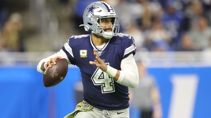 DETROIT, MI - NOVEMBER 17: Dak Prescott #4 of the Dallas Cowboys drops back to pass during the fourth quarter of the game against the Detroit Lions at Ford Field on November 17, 2019 in Detroit, Michigan. (Photo by Rey Del Rio/Getty Images)