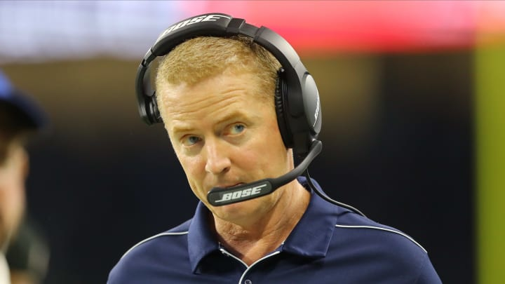 DETROIT, MI - NOVEMBER 17: head coach Jason Garrett of the Dallas Cowboys looks on during the second quarter against the Detroit Lions at Ford Field on November 17, 2019 in Detroit, Michigan. (Photo by Rey Del Rio/Getty Images)