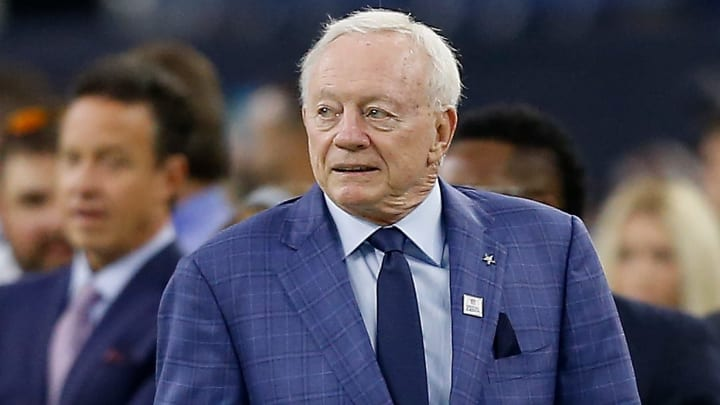 HOUSTON, TX - OCTOBER 07: Jerry Jones, owner of the Dallas Cowboys walks on the field at NRG Stadium on October 7, 2018 in Houston, Texas. Houston won 19-16 in overtime. (Photo by Bob Levey/Getty Images)