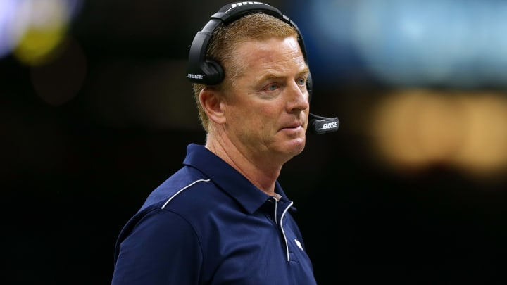 NEW ORLEANS, LOUISIANA - SEPTEMBER 29: Head coach Jason Garrett of the Dallas Cowboys reacts during a game against the New Orleans Saints at the Mercedes Benz Superdome on September 29, 2019 in New Orleans, Louisiana. (Photo by Jonathan Bachman/Getty Images)