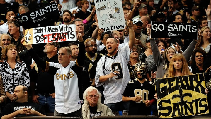 NEW ORLEANS, LA - NOVEMBER 10:  General view of fans during a game between the New Orleans Saints and the Dallas Cowboys at the Mercedes-Benz Superdome on November 10, 2013 in New Orleans, Louisiana.  New Orleans defeated Dallas 49-17.  (Photo by Stacy Revere/Getty Images)