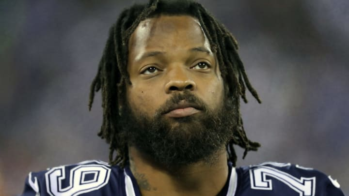 EAST RUTHERFORD, NEW JERSEY - NOVEMBER 04: Defensive Lineman Michael Bennett #79 of the Dallas Cowboys follows the action against the New York Giants in the first half at MetLife Stadium on November 04, 2019 in East Rutherford, New Jersey.The Dallas Cowboys defeated the New York Giants 37-18. (Photo by Al Pereira/Getty Images)