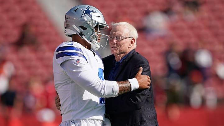 SANTA CLARA, CA - AUGUST 10:  Quarterback Dak Prescott #4 and team owner Jerry Jones of the Dallas Cowboys hug each other during pregame warm ups prior to the start of an NFL preseason football game against the San Francisco 49ers at Levi's Stadium on August 10, 2019 in Santa Clara, California.  (Photo by Thearon W. Henderson/Getty Images)