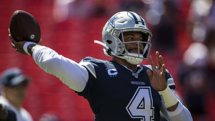 LANDOVER, MD - SEPTEMBER 15: Dak Prescott #4 of the Dallas Cowboys throws before the game against the Washington Redskins at FedExField on September 15, 2019 in Landover, Maryland. (Photo by Scott Taetsch/Getty Images)