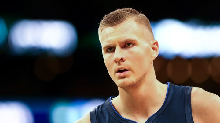 BOSTON, MA - NOVEMBER 11:  Kristaps Porzingis #6 of the Dallas Mavericks looks on during a game against the Boston Celtics at TD Garden on November 11, 2019 in Boston, Massachusetts. NOTE TO USER: User expressly acknowledges and agrees that, by downloading and or using this photograph, User is consenting to the terms and conditions of the Getty Images License Agreement. (Photo by Adam Glanzman/Getty Images)