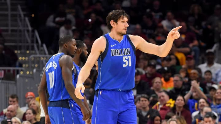CLEVELAND, OHIO - NOVEMBER 03: Boban Marjanovic #51 of the Dallas Mavericks celebrates after scoring during the second half against the Cleveland Cavaliers at Rocket Mortgage Fieldhouse on November 03, 2019 in Cleveland, Ohio. The Mavericks defeated the Cavaliers 131-111. NOTE TO USER: User expressly acknowledges and agrees that, by downloading and/or using this photograph, user is consenting to the terms and conditions of the Getty Images License Agreement. (Photo by Jason Miller/Getty Images)