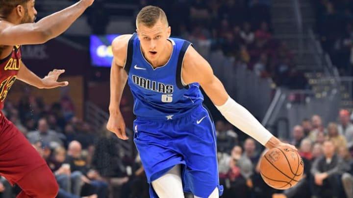 CLEVELAND, OHIO - NOVEMBER 03: Kristaps Porzingis #6 of the Dallas Mavericks drives around Tristan Thompson #13 of the Cleveland Cavaliers during the first half at Rocket Mortgage Fieldhouse on November 03, 2019 in Cleveland, Ohio. NOTE TO USER: User expressly acknowledges and agrees that, by downloading and/or using this photograph, user is consenting to the terms and conditions of the Getty Images License Agreement. (Photo by Jason Miller/Getty Images)