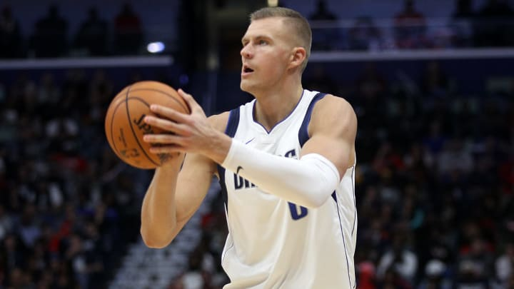 NEW ORLEANS, LOUISIANA - OCTOBER 25: Kristaps Porzingis #6 of the Dallas Mavericks shoots the ball against the New Orleans Pelicans at Smoothie King Center on October 25, 2019 in New Orleans, Louisiana. NOTE TO USER: User expressly acknowledges and agrees that, by downloading and or using this photograph, User is consenting to the terms and conditions of the Getty Images License Agreement.  (Photo by Chris Graythen/Getty Images)